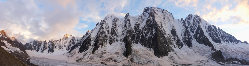 Evening light on the great north faces of Les Courtes, Les Droites and the Aiguille Verte