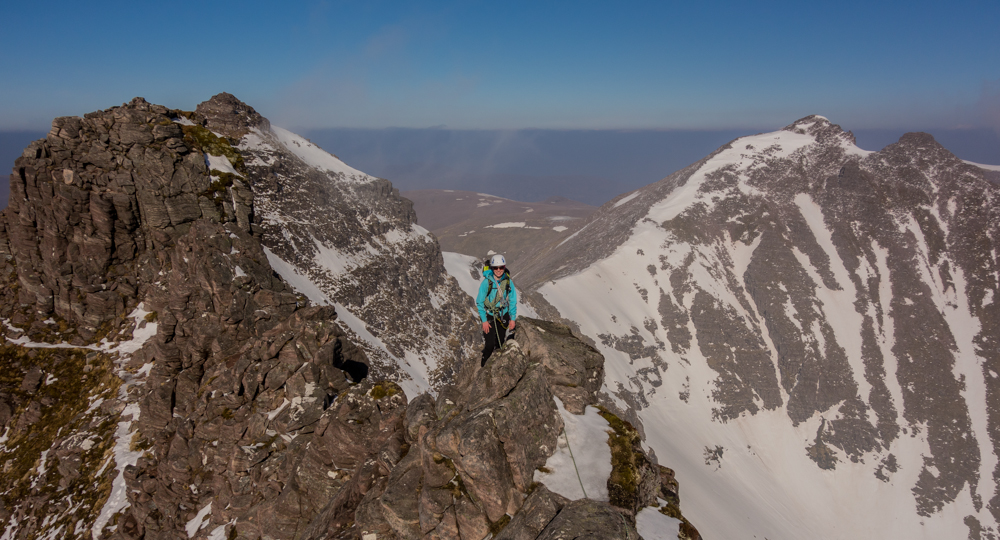 Nearing the end of the scrambling with a view of the Munros - Sgurr Fiona and Bidein a' Ghlas Thuill