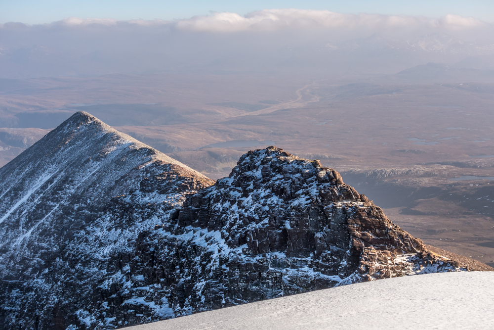 Looking from the second Munro along the final ridge to Glas Mheall Liath