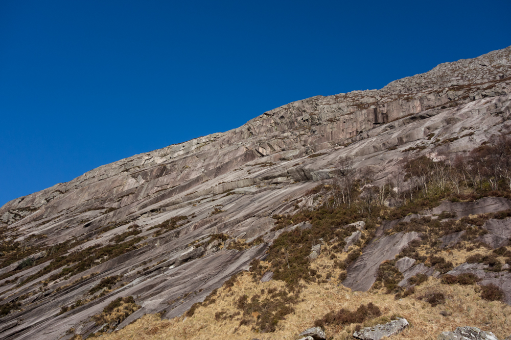 The central section of the Etive Slabs - Spartan Slab works it's way from bottom left to top right of the photo