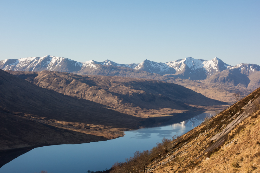 Not a bad view! Ben Cruachan and Loch Etive seen from the base of the Slabs