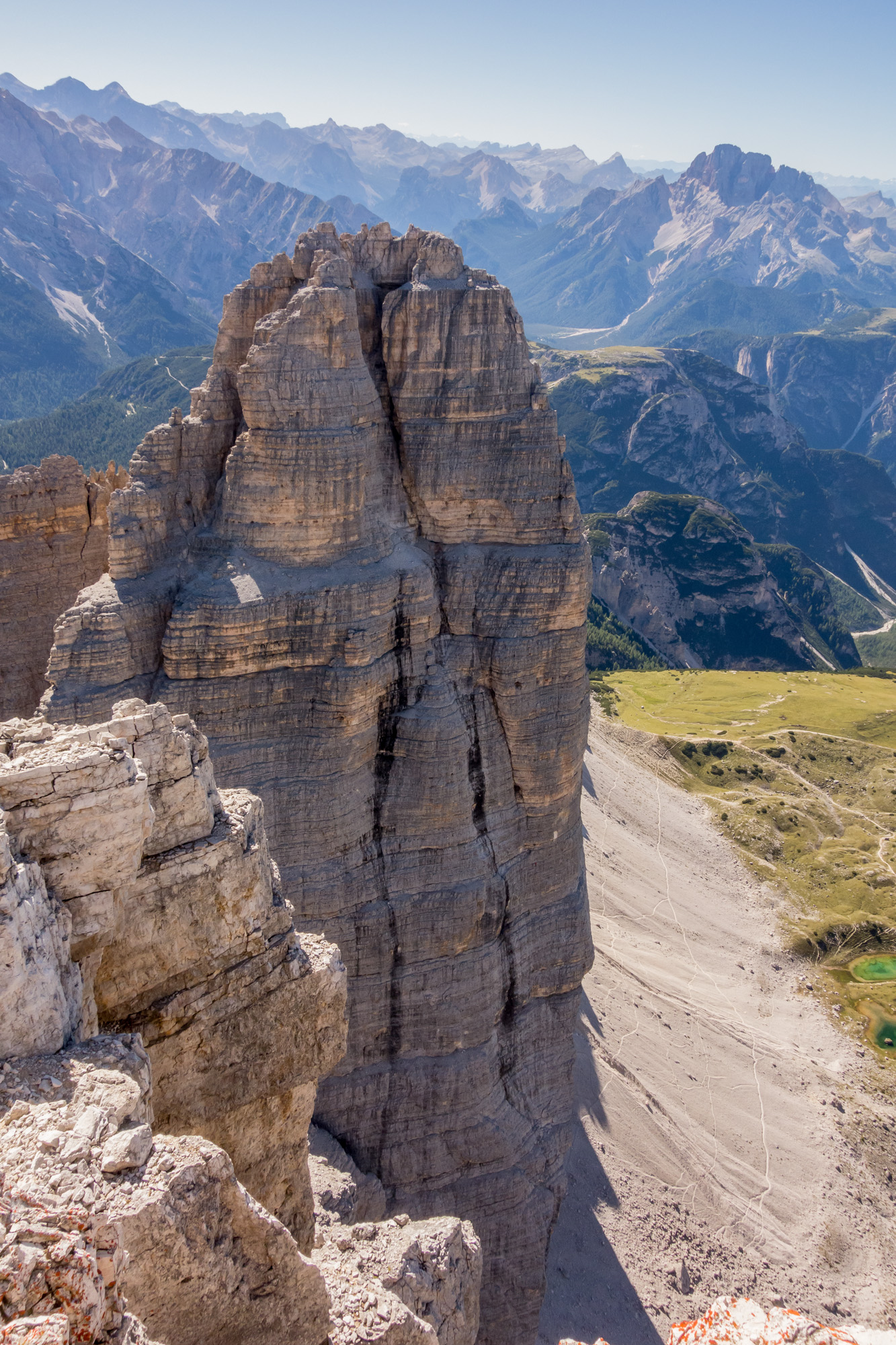 Looking west from the summit of Cima Grande on to the east face of the mighty Cima Ovest