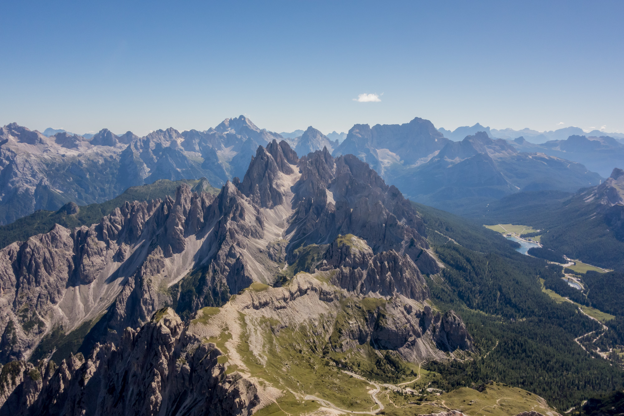Stunning views south from the summit of Cima Grande towards Cima del Cadin and Lago di Misurina