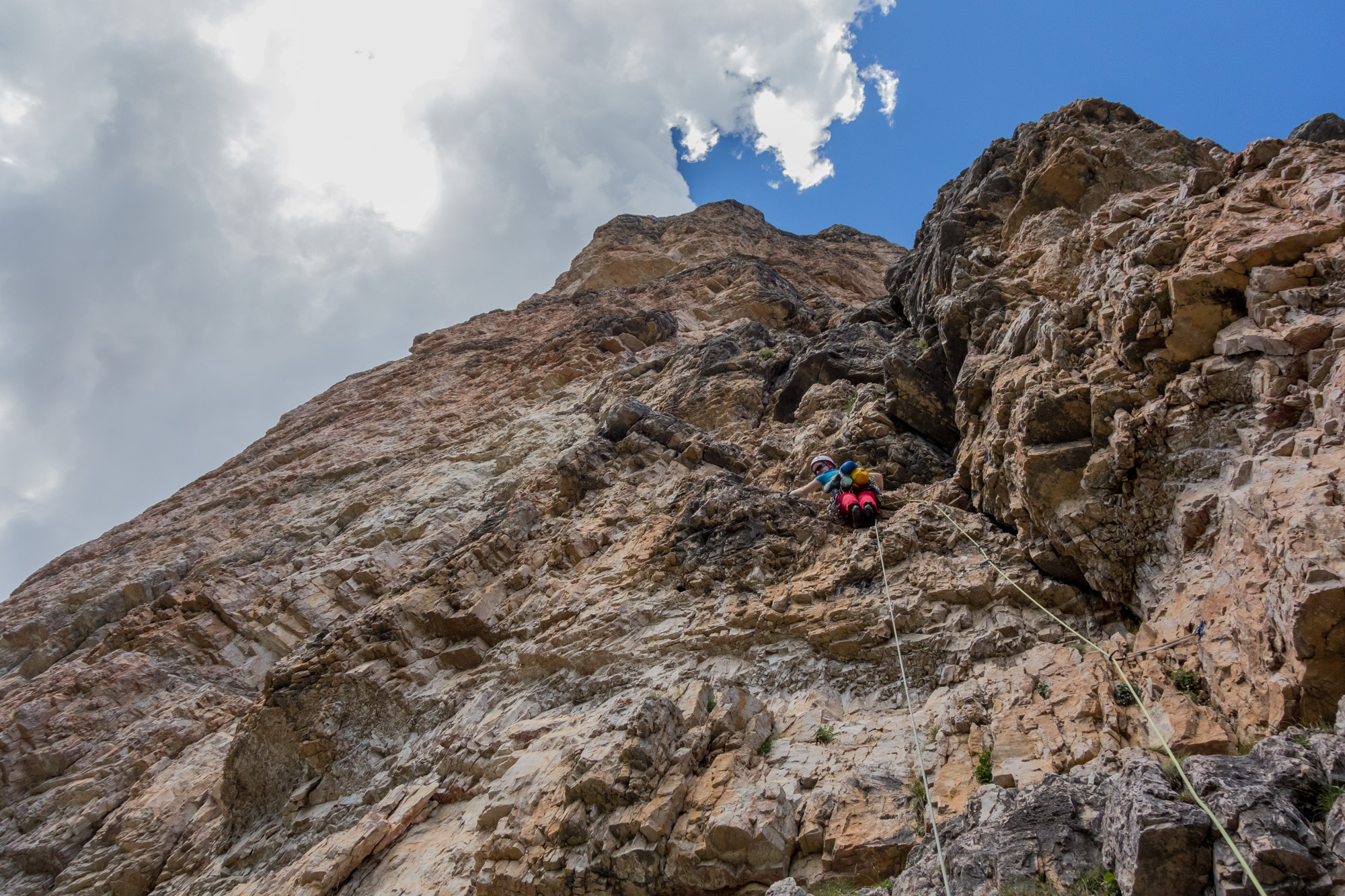 Debs dances through the steepness and the polish on the first pitch of the Dolomiti rite of passage, Via Myriam