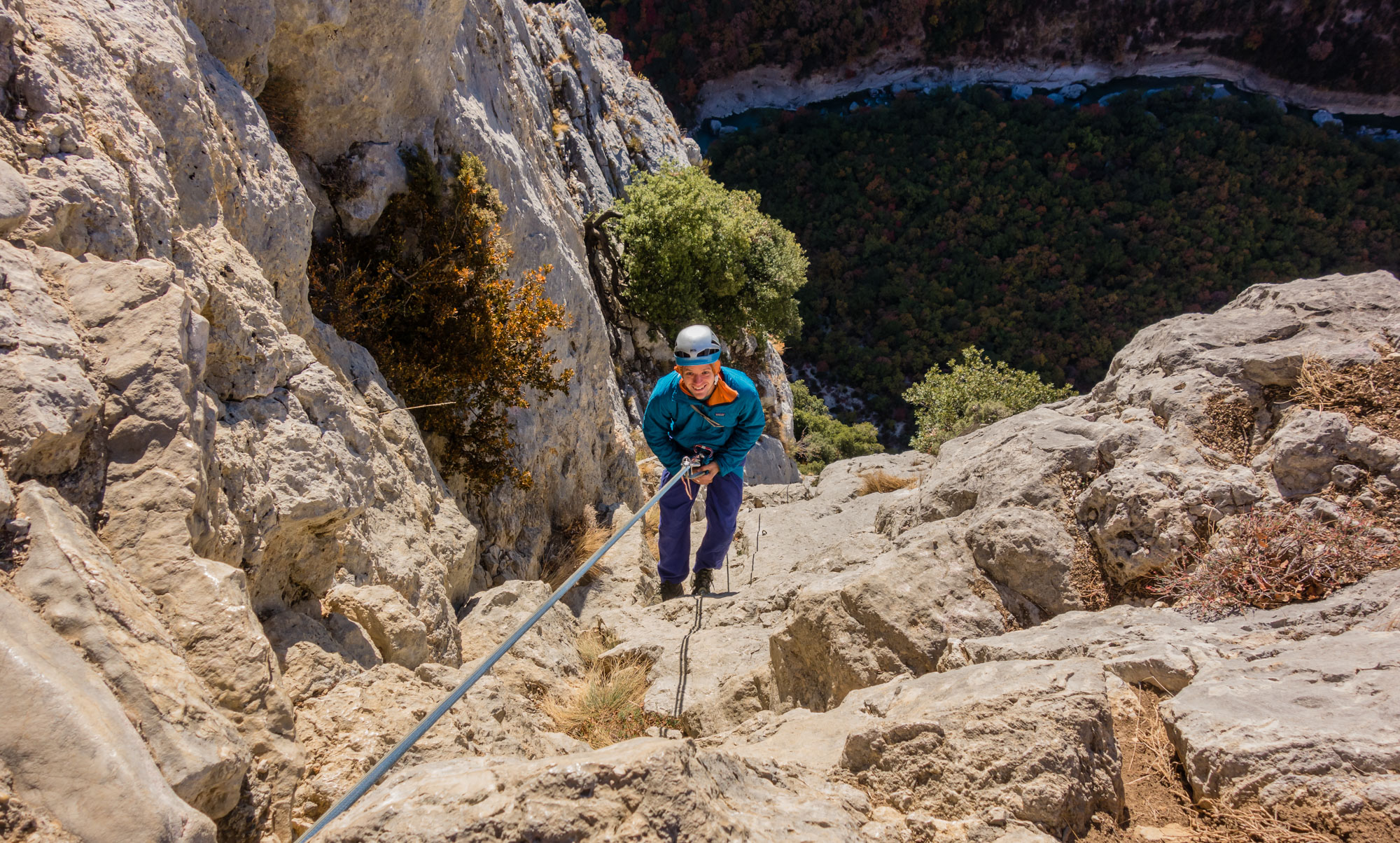 Andy embarks on the Dalles Grises abseils - a rude awakening in the cold and the wind
