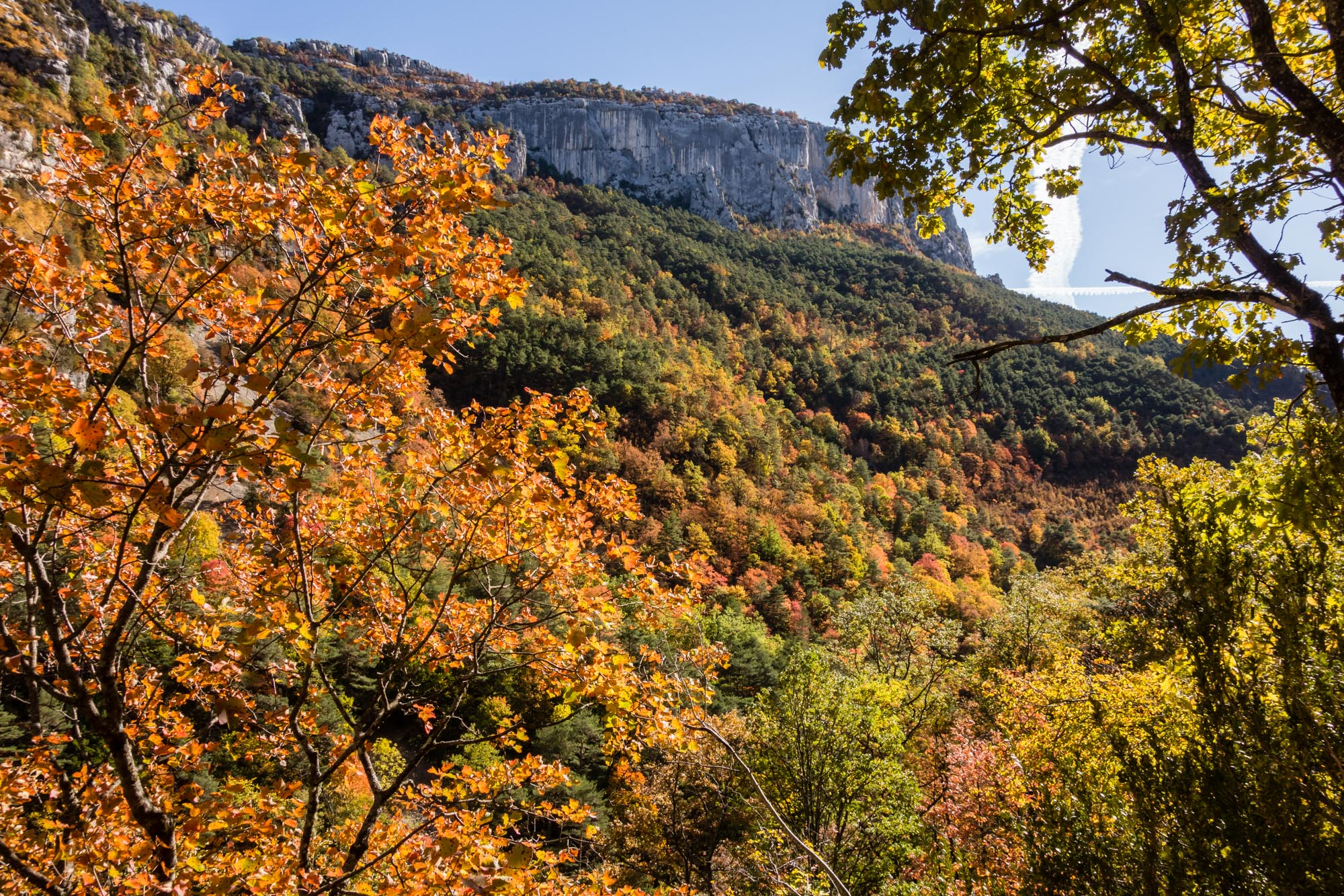 Stunning autumnal colours in the gorge, en route to the base of La Demande