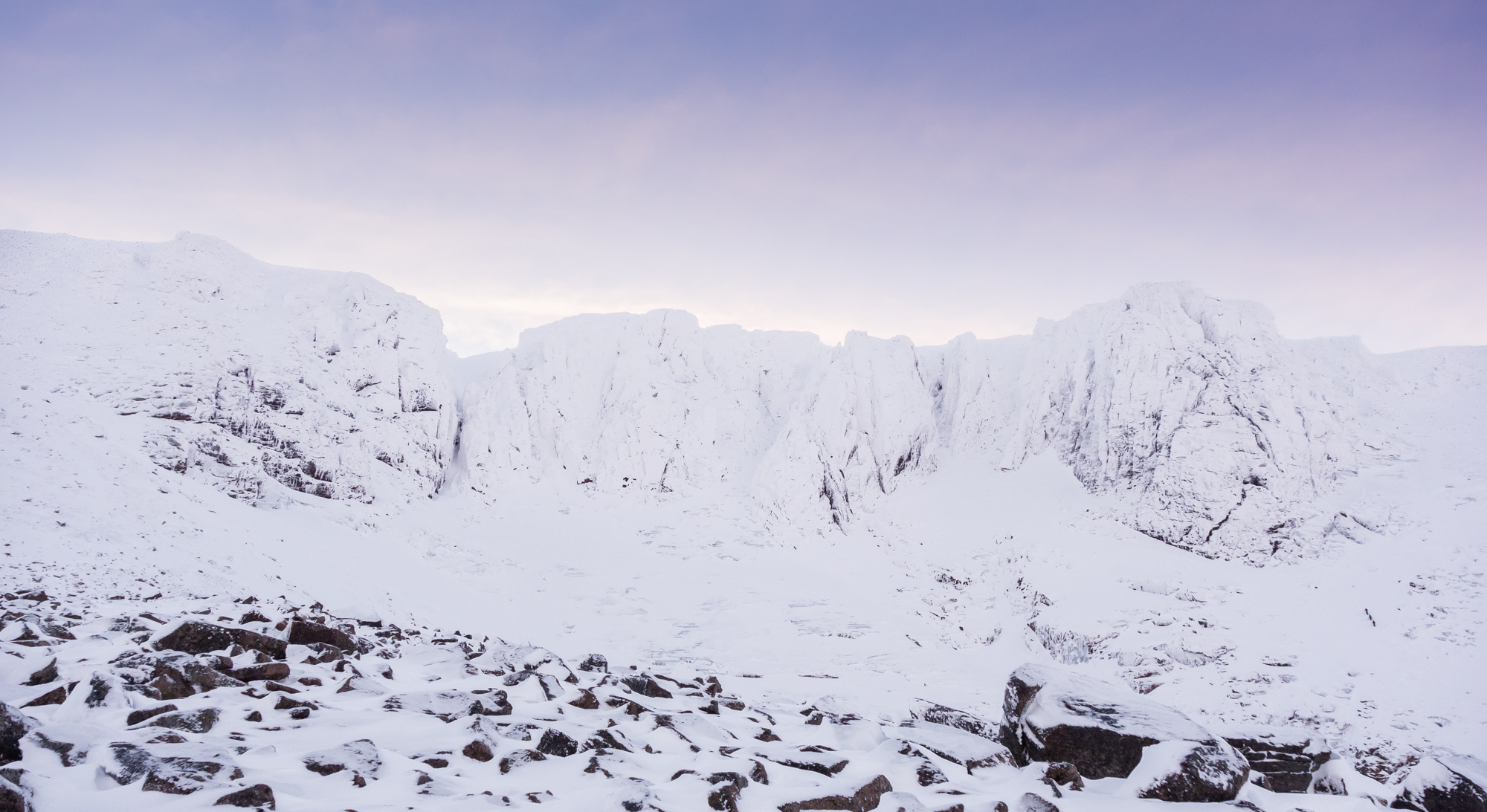 Dawn over a very white Coire an Lochain. No1 buttress on the left looking marginally less buried.