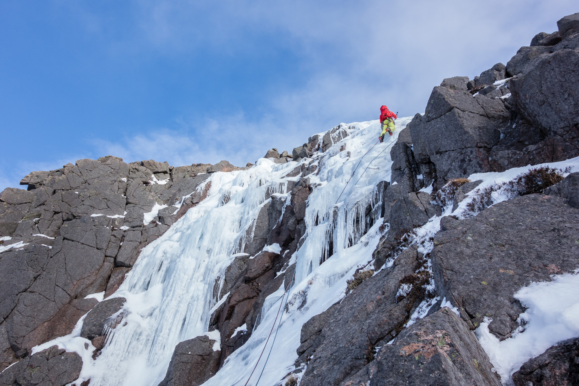 Joe cruising up plastic ice on the right hand upper icefall of K9. The left hand side had suffered somewhat in the sun!