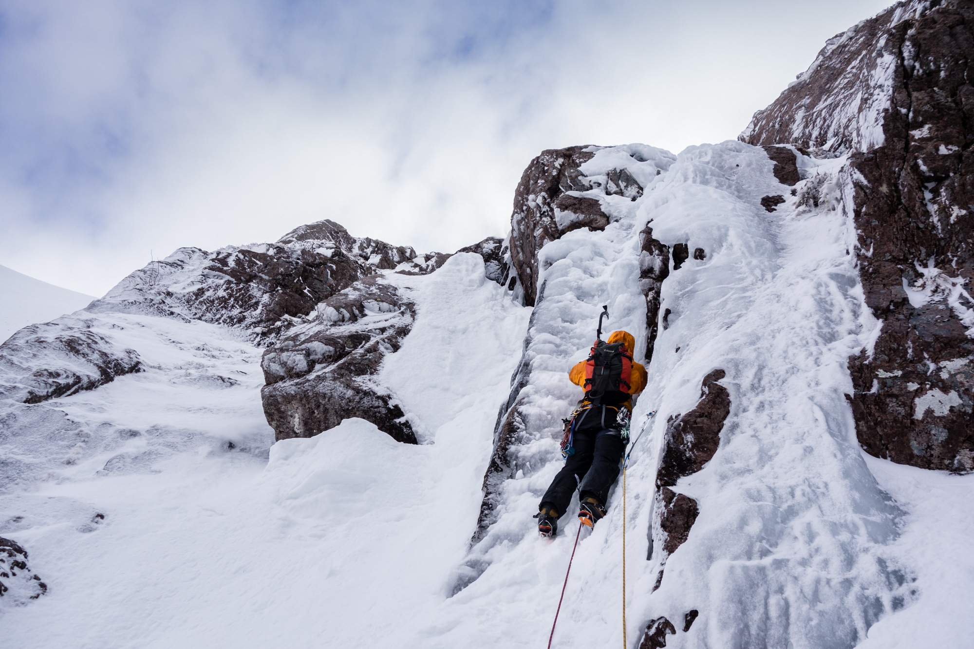 Ric lining up for the deceptively steep and awkward direct finish. The ice was chewy but a bit thin and picked out for reliable screws.