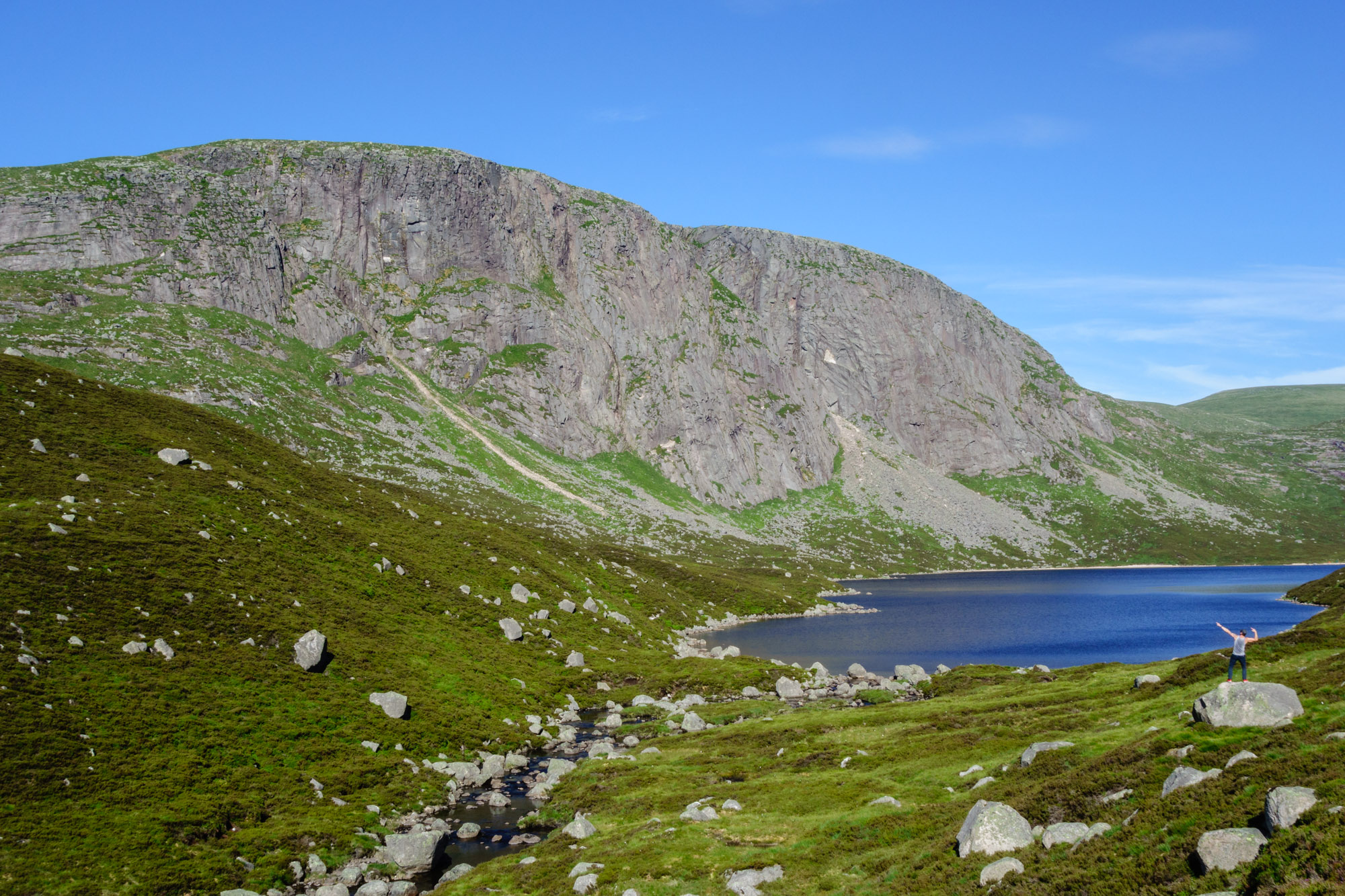 Joe dwarfed by the mighty Creag an Dubh Loch. A good place for a break on the sweat-fest of an approach