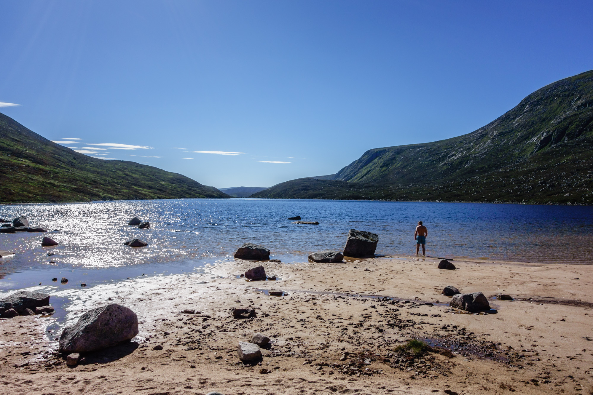Mr Rankin enjoying a refreshing morning dip in the blue waters of the Dubh Loch
