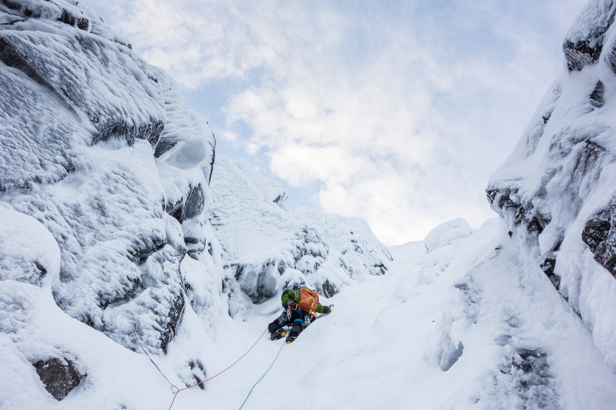 Poorly protected, steep and buried in loose snow - it must be the top of a Lochnagar gully! A cool lead by Andy of a serious pitch